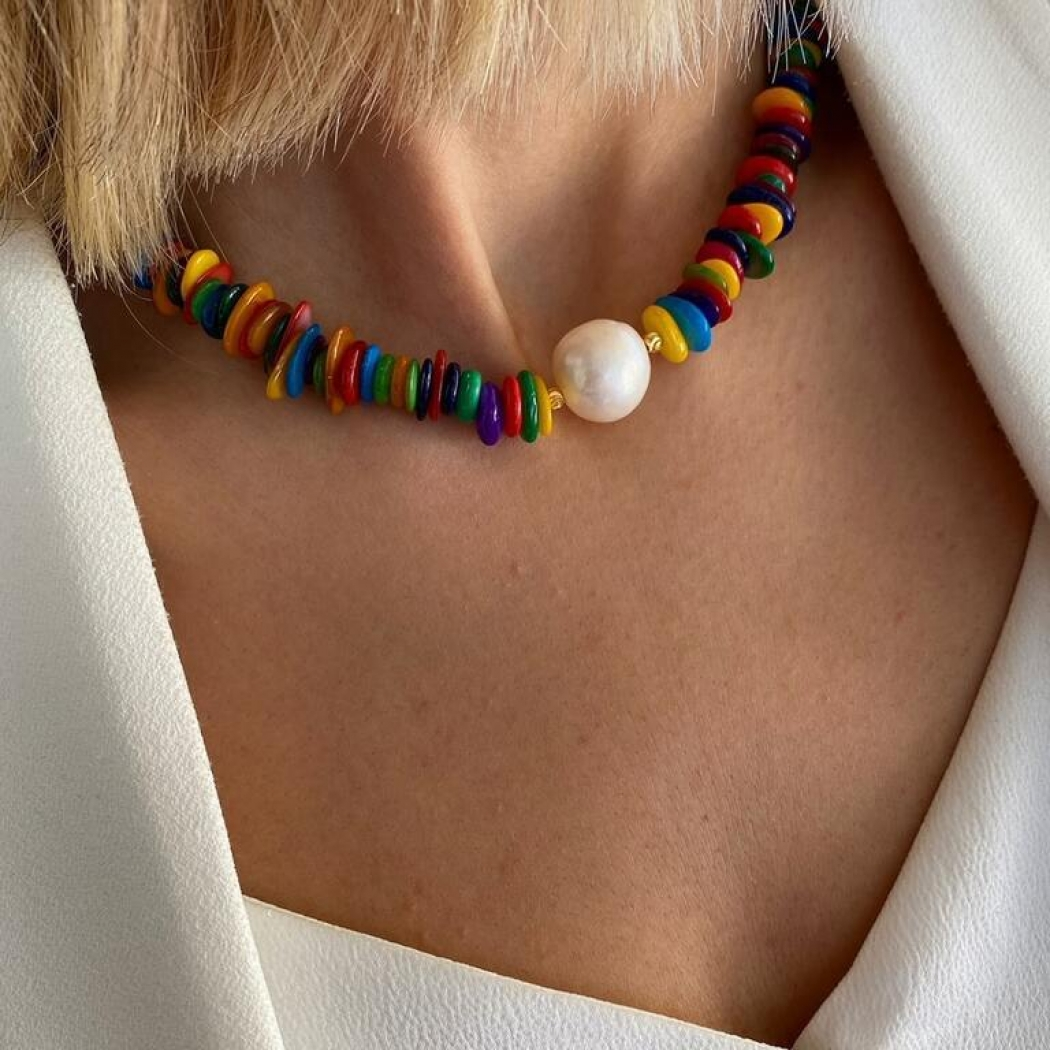 Handmade Colored Mother-of-Pearl Necklace