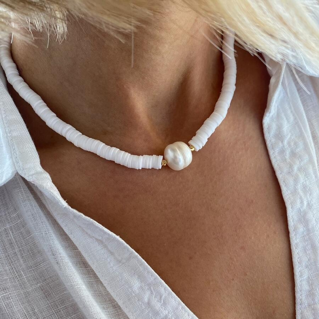 Handmade Pearl Detailed Fimo Necklace